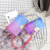 women's clear jelly bag female quilted crossbody bag sac transparent femme luxury mixed color shoulder bag with chain strap