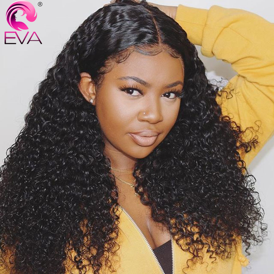 Eva Hair 360 Lace Frontal Wig Pre Plucked With Baby Hair Curly Lace Front Human Hair Wigs For Black Women Brazilian Remy Hair