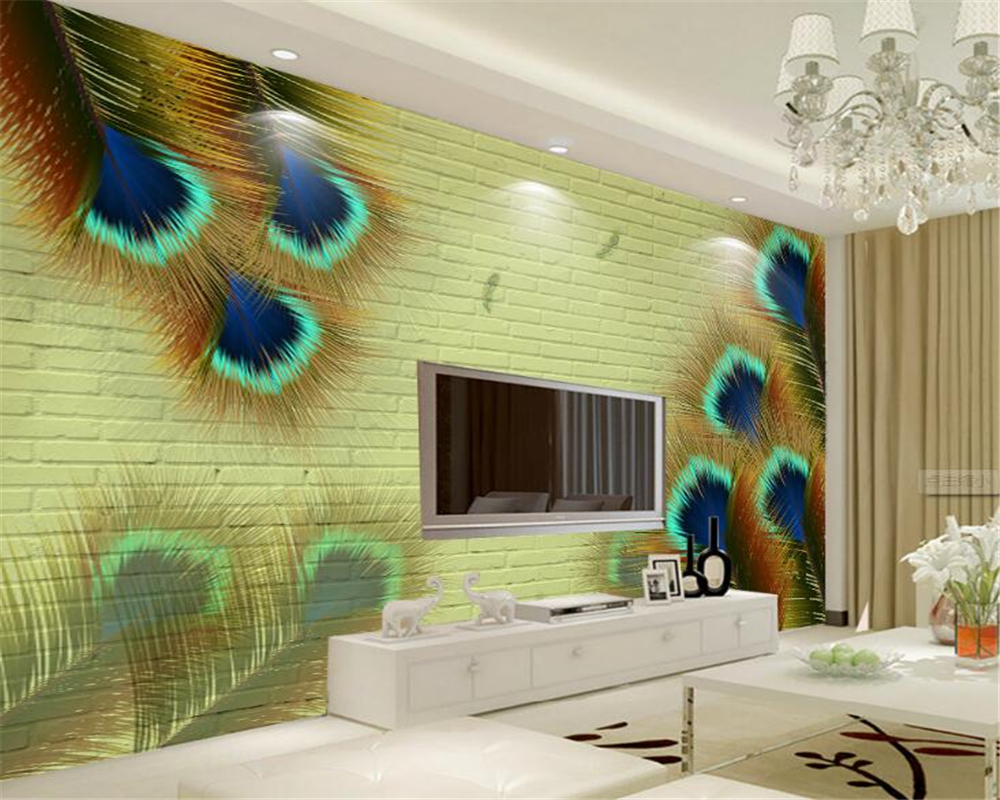 Peacock Living Room Us 9 40 Off Beibehang 3d Wallpaper Peacock Peacock Feather Brick Background Wall Living Room Bedroom Tv Background Mural Papel De Parede In