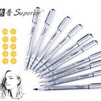 Улучшенный 10 шт Neelde софтбокс тонкая ручка черный эскиз маркеры Водонепроницаемая ручка для рисования для дизайна Кисть ручка художественн...