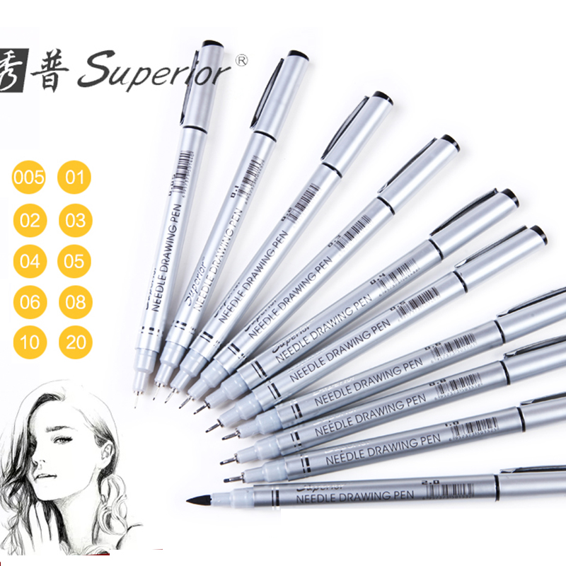 Superior 10pcs Neelde SoftBrush Fine Line Pen Black Sketch Markers Waterproof Drawing Pen for Design Brush Pen Art Supplies superior 10pcs waterproof artist marker black sketch pigment fine liner brush pen set for office school writing art supplies