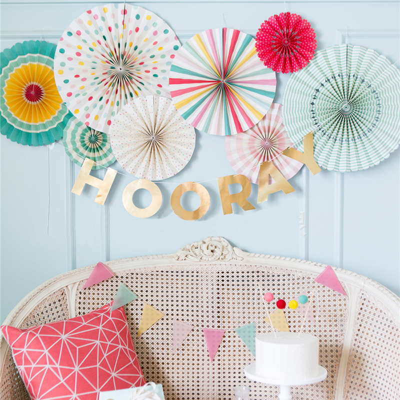 HAOCHU 8pcs Unique Tissue Paper Fan Flower With Colorful