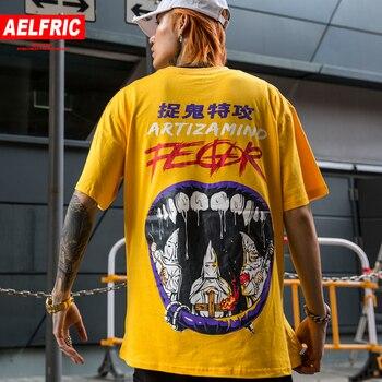 1d9833e384 Aelfric Eden Harajuku camisetas diablo Graffiti impreso Streetwear hombres  camisetas 2019 Hip Hop moda Casual Camiseta de manga corta camisas
