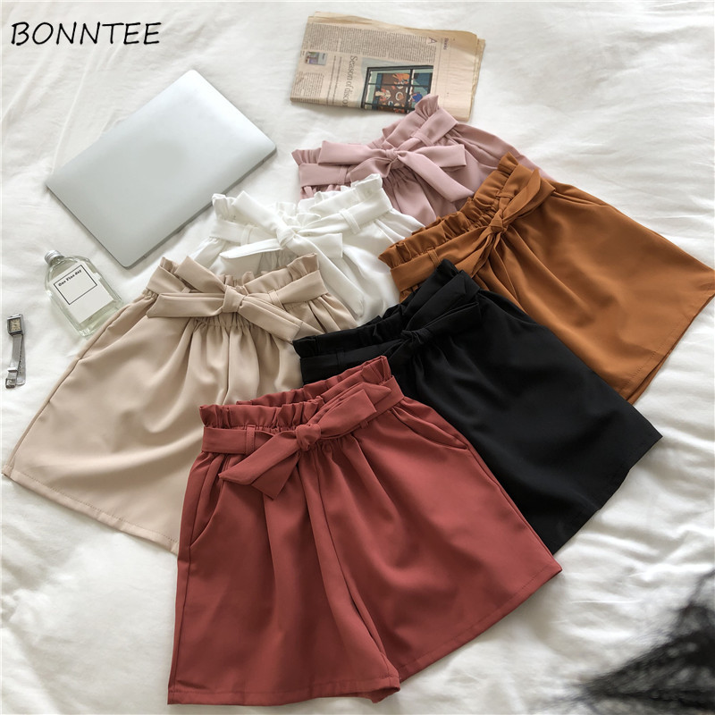 Shorts Women Trendy Lovely Bow Drawstring Simple Leisure Womens Temperament Elastic Female Solid Breathable New Summer Literary