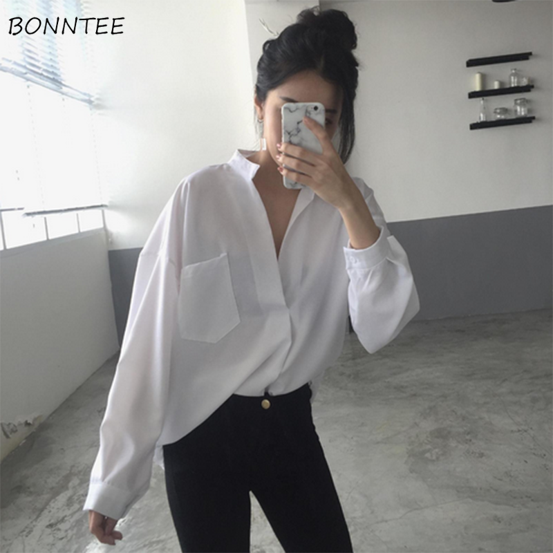 Shirts Women Solid Soft Long Sleeves Loose V-neck Thin Womens Simple All-match Leisure Trendy Chic Elegant Korean Style Students