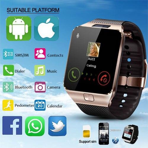New LED Electronic Intelligent Wristwatch Sport Gold Smart Watch DZ09 Pedometer For Phone Android Wrist Watch Men Chrismas Gift цена и фото