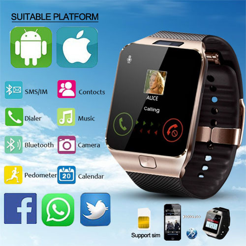 Nuevo LED electrónica inteligente de reloj de deporte de oro reloj inteligente DZ09 podómetro para teléfono Android reloj de pulsera de hombres regalo de Navidad