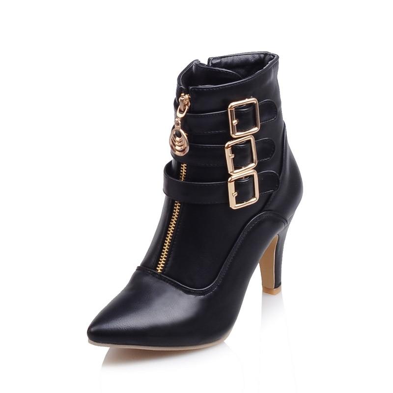 Brand New Hot Sales Women <font><b>Nude</b></font> Ankle Boots Red Black Buckle Ladies Riding Spike Shoes High Heels EMB08 Plus Big <font><b>size</b></font> 32 45 <font><b>11</b></font>