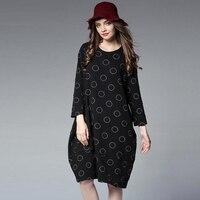 Black Wine Gray Color Dots Dress Autumn Winter Big Size Loose Dress for Women XL 4XL Plus Size Long Sleeve Casual Women Dress