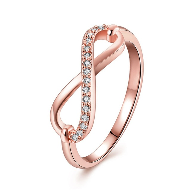 Endless Love Promise Ring Infinity Design Rose Gold Color CZ