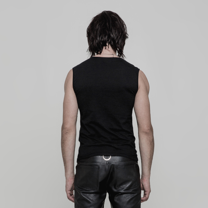 Image 3 - PUNK RAVE Punk Rock PU Leather Muscles Arrayed Warriors Skinny  Sleeveless Men T shirt Elastic Cotton Knitted Tops Tees Clothingmen  t-shirtt-shirt ment-shirt men cotton