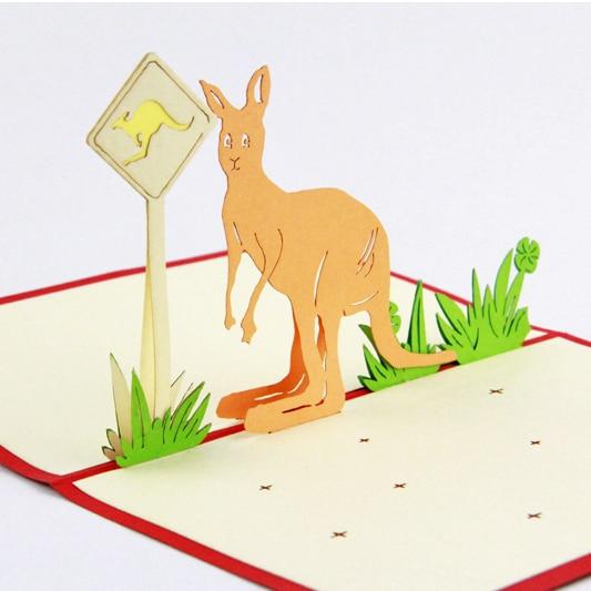 Australian kangaroo road sign /3D pop up greeting card/ handmade souvenir   Free shipping butterfly orchid flower thank you card 3d pop up greeting card handmade card free shipping