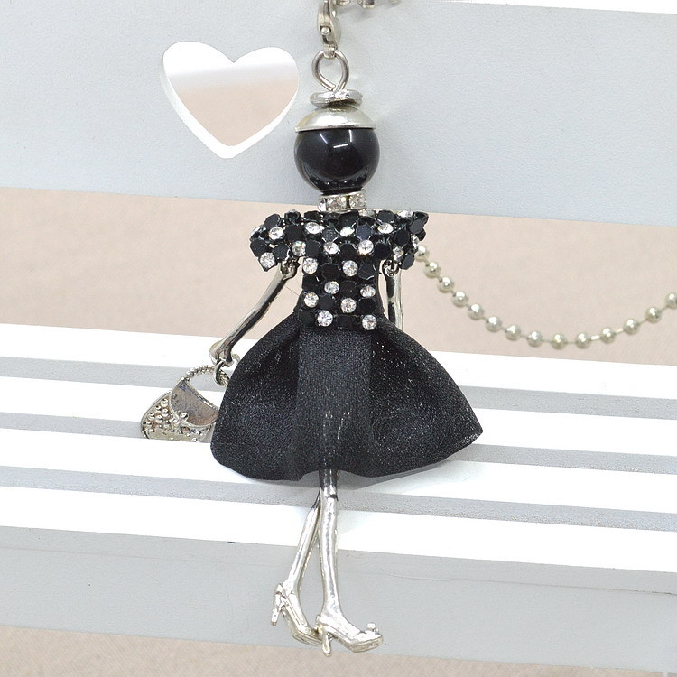 2018 new Fashion doll Necklace Cute Lace dress doll pendant Jewelry sales girl female charm key chain bag charm women necklace