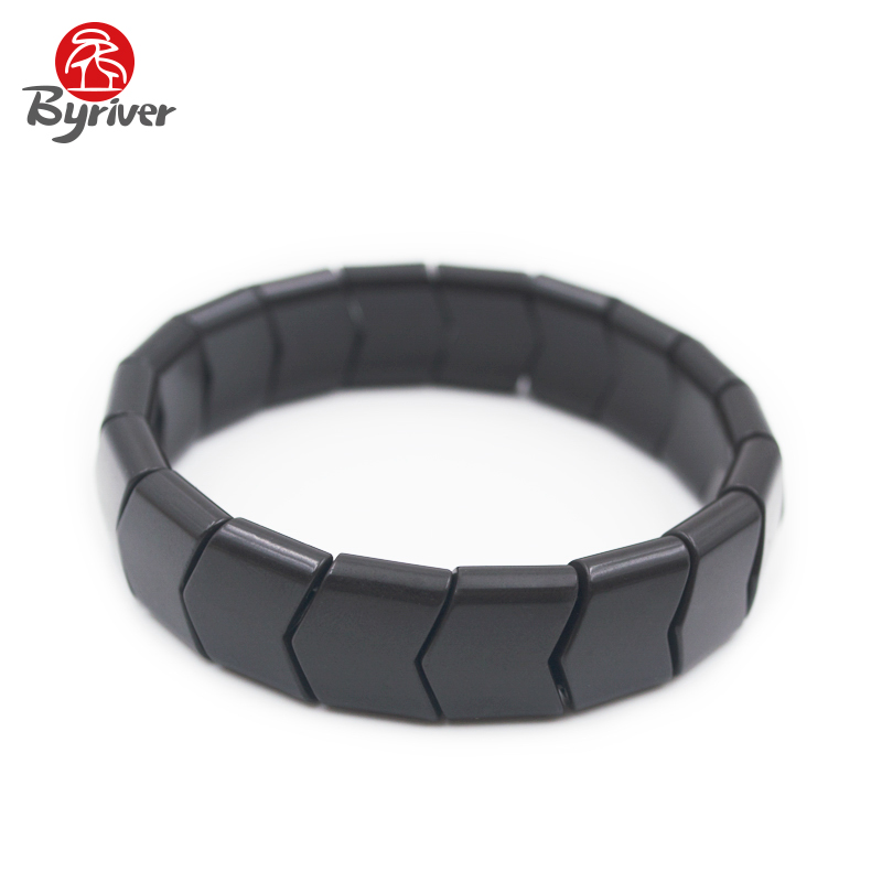 BYRIVER Real Black Germanium Stone Health Bracelet Tourmaline Wristband Hand Chain Women Men byriver healthcare black tourmaline stone health bracelet germanium negative ion energy hand chain for men women size 57 64mm