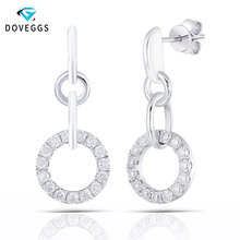 DovEggs Sterling Solid 925 Silver Total 1 CTW 2mm Round Shape Moissanite Drop Earrings for Women Jewelry Gift
