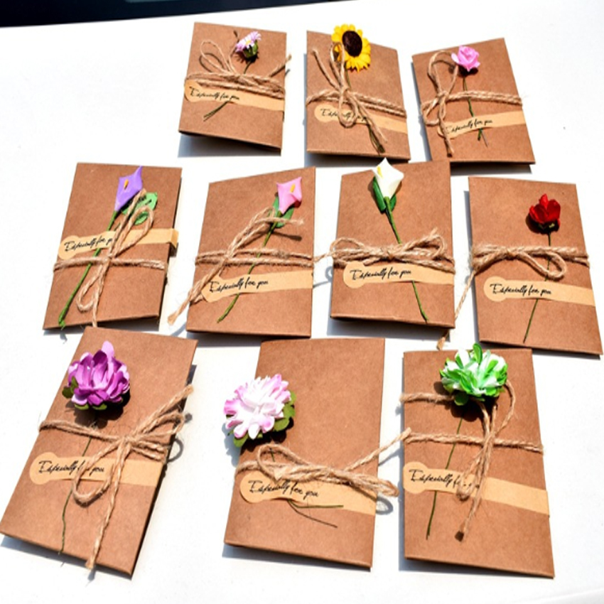 2pack/lot Vintage DIY Kraft Paper Handmade Dried Flowers With Envelope Postcard Greeting Card Birthday Card New Year Gift Cards