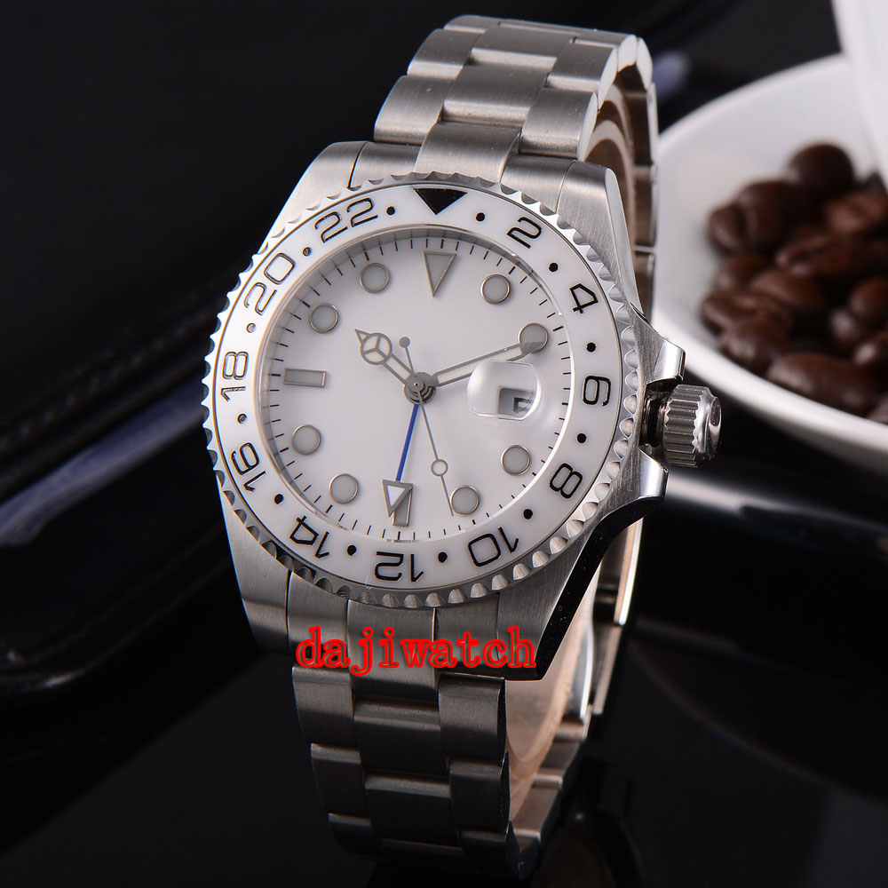 parnis 43mm white dial stainless steel case Sapphire glass calendar Dual time zone GMT mechanical automatic watch men цена 2017