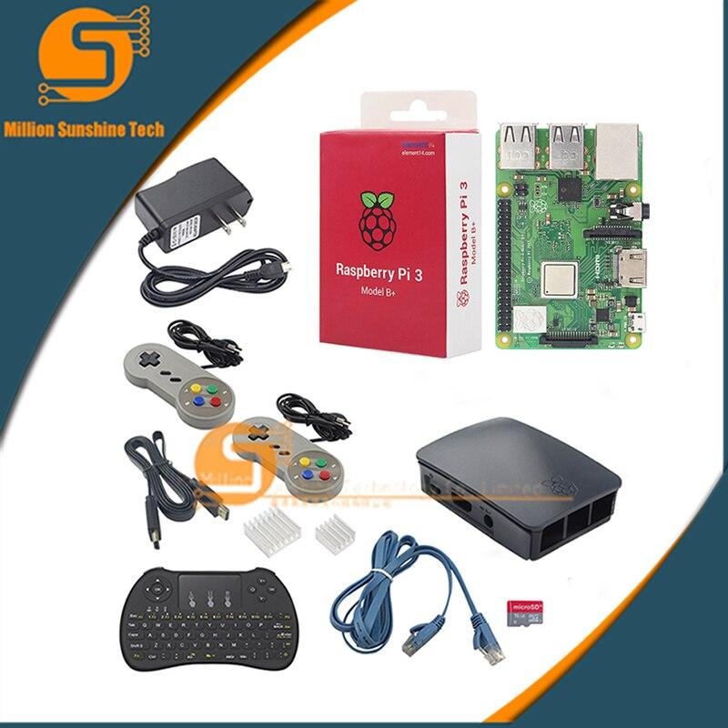 Framboise Pi 3 Modèle B +/3 Kit De Démarrage + Boitier + 16 GBSD Carte + Alimentation + Câble HDMI + Clavier + 2 pièces poignée de jeu + câble pour RPI 3/3b +