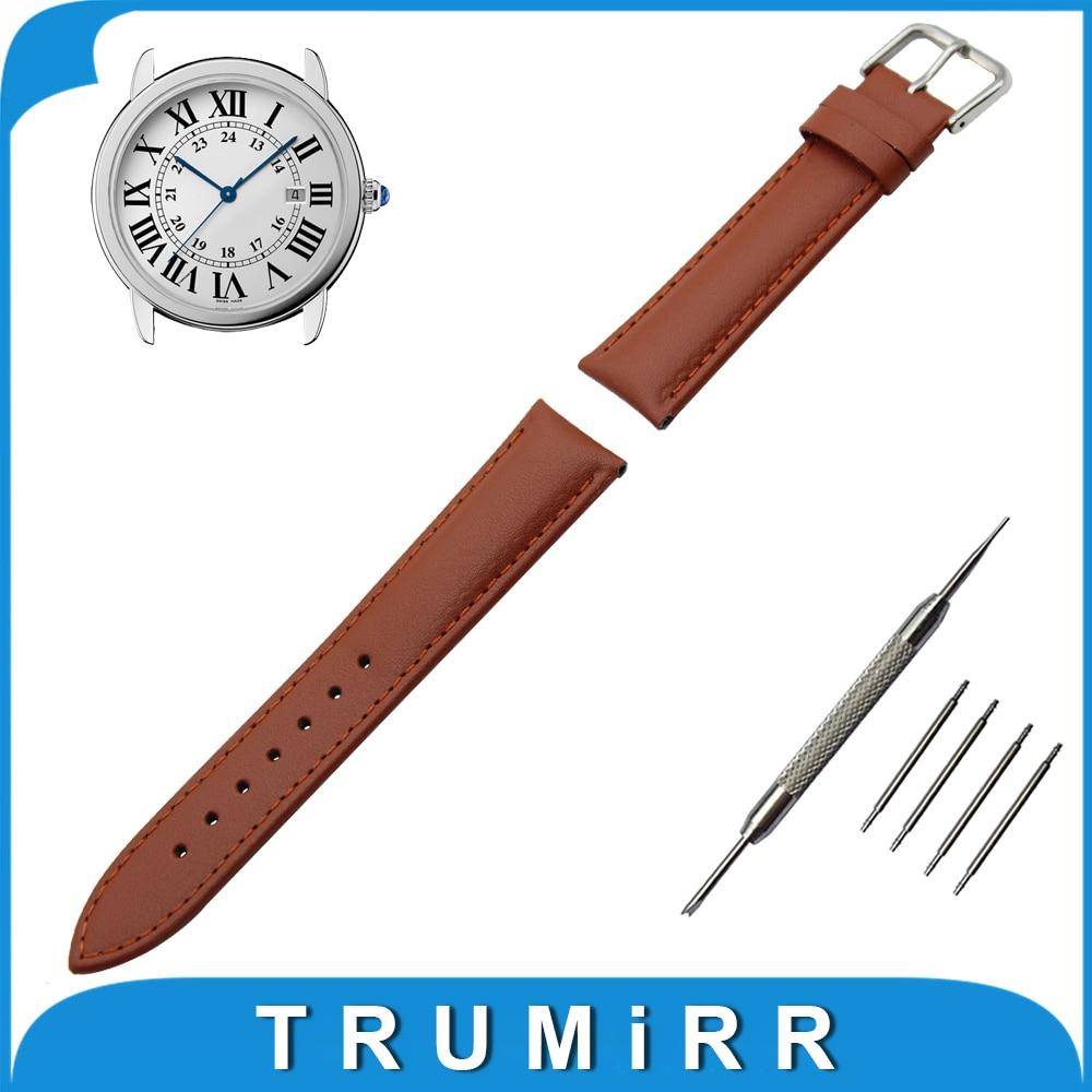 Genuine Leather Watch Band 18mm 20mm 22mm 24mm for Cartier Stainless Steel Buckle Strap Wrist Belt Bracelet + Spring Bar цена 2016