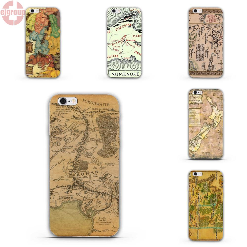 EJGROUP For iPhone 4 4S 5 5C SE 6 6S 7 8 Plus X Soft TPU Silicon Popular Hot Lord Of The Ring Middle Earth Map ...