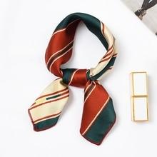 LARRIVED 50*50cm Square Silk Satin Scarf Elegant Women Head Skinny Retro Hair Tie Band Small Fashion Kerchief Neck