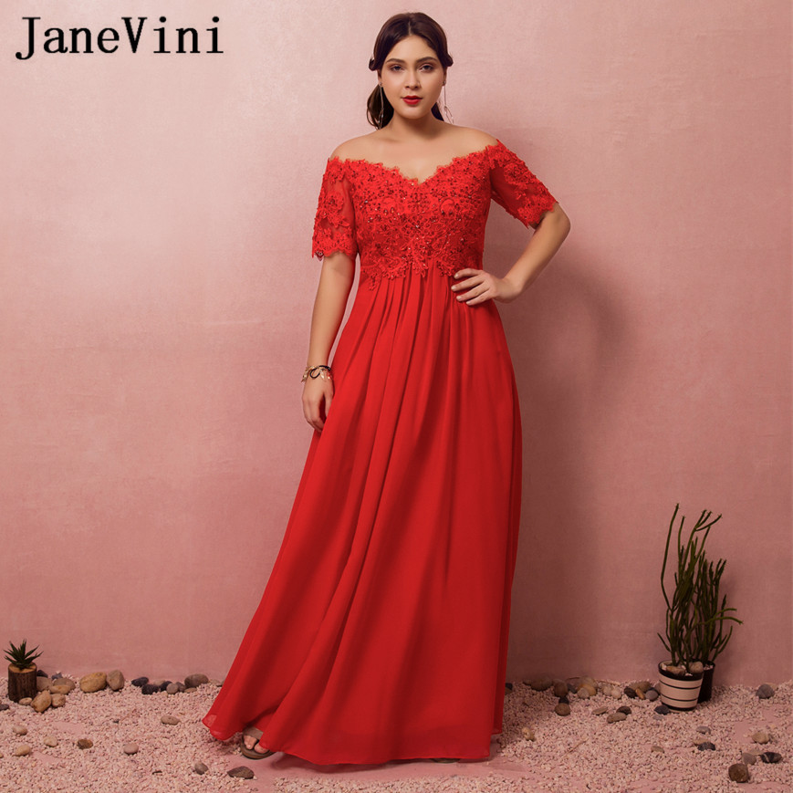 JaneVini Sexy Chiffon Off Shoulder   Bridesmaid     Dresses   Long Red Plus Size Beaded Lace Short Sleeve Wedding Party   Dress   For Prom