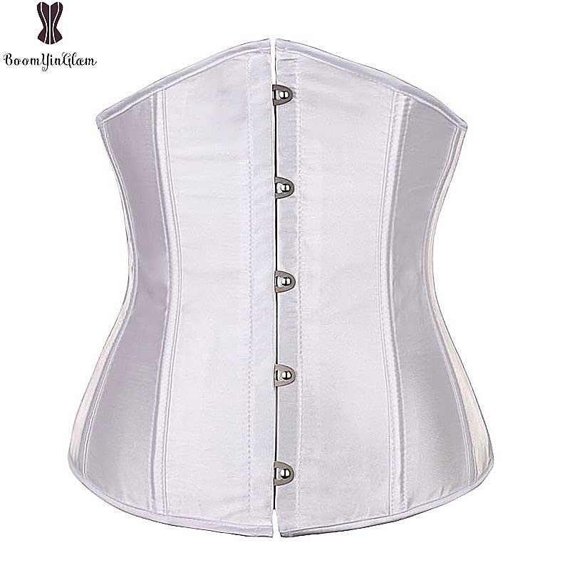 Underbust Corset Top 6XL Plus La Taille Sexy Femmes Outwear Simple Élégant Satin Bustier Blanc Noir Bleu Gothique Taille Corselet 2833