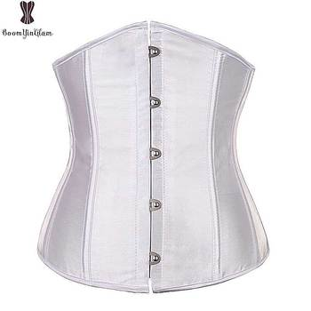 Underbust Corset Top 6XL Plus Size Sexy Women Outwear Simple Elegant Satin Bustier White Black Blue Gothic Waist Corselet 2833 Bustiers & Corsets
