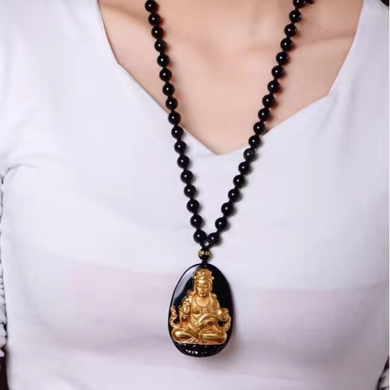 KYSZDL Men and women fashion pure gold color natural obsidian carving Guanyin pendant crystal amulet necklace jewellery in Pendants from Jewelry Accessories