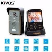 KiVOS 3 в 1 дверной звонок 3 внутренних единиц и 1 Наружный блок 3,5 дюймов беспроводной домофон Смарт переговорное устройство с видеокамерой две