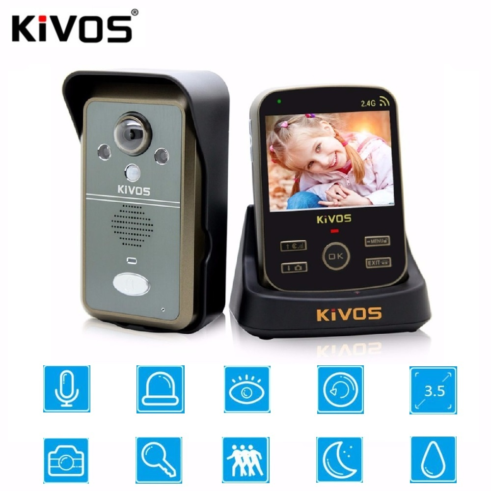 KiVOS 3 V 1 Doorbell 3 Indoor Units And 1 Outdoor Unit 3.5 inch Wireless Door Intercom Smart Video Intercom Camera Doorbell