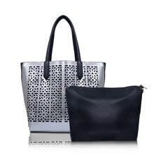 2017 new Fashion PU Leather Women metallic hollow out Pattern Messenger bag Set Purse and Handbags