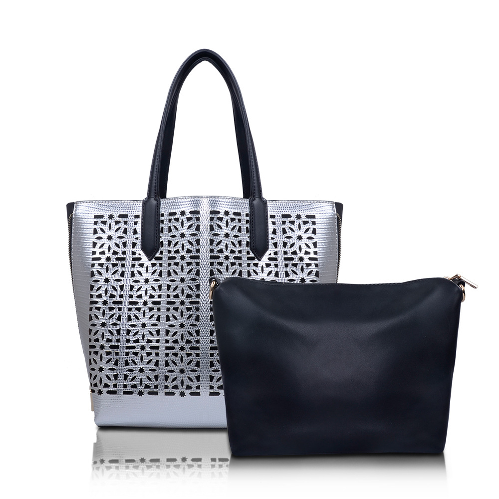 2017 new Fashion PU Leather Women metallic hollow out Pattern Messenger bag font b Set b