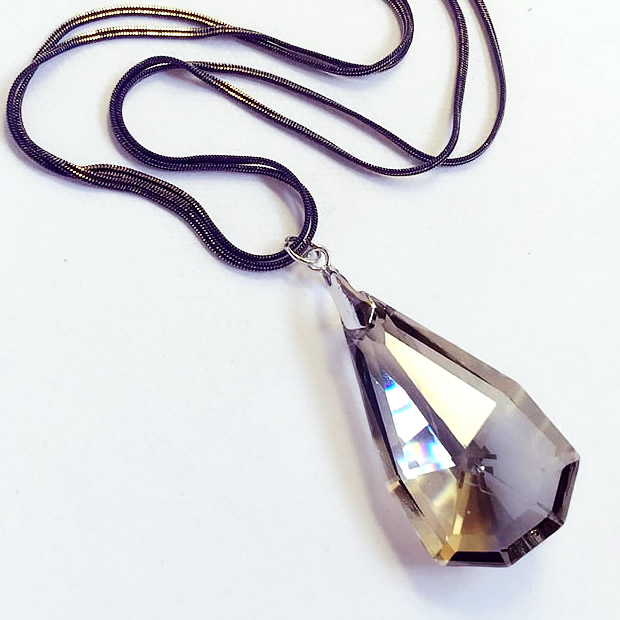 2015 New Arrival Women Pendant Necklaces Trapezoid Large Water Drop Jewelry Crystal Sweater Chain Personality Necklace