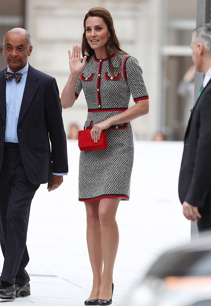 2017 frühen Herbst Kate Middleton plaid Wolle Kleid Frauen Oansatz ...