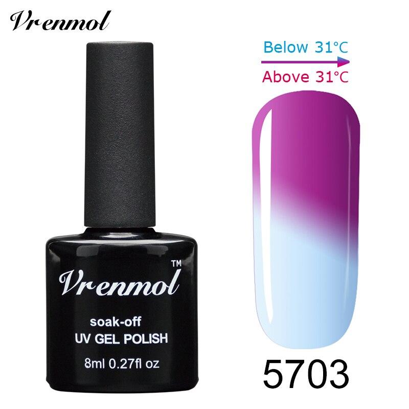 Vrenmol, 1 шт., меняющий цвет, замачиваемый УФ-гель, цвета, лак Verniz, Термальный, меняющий настроение, Гель-лак для ногтей - Цвет: 5703