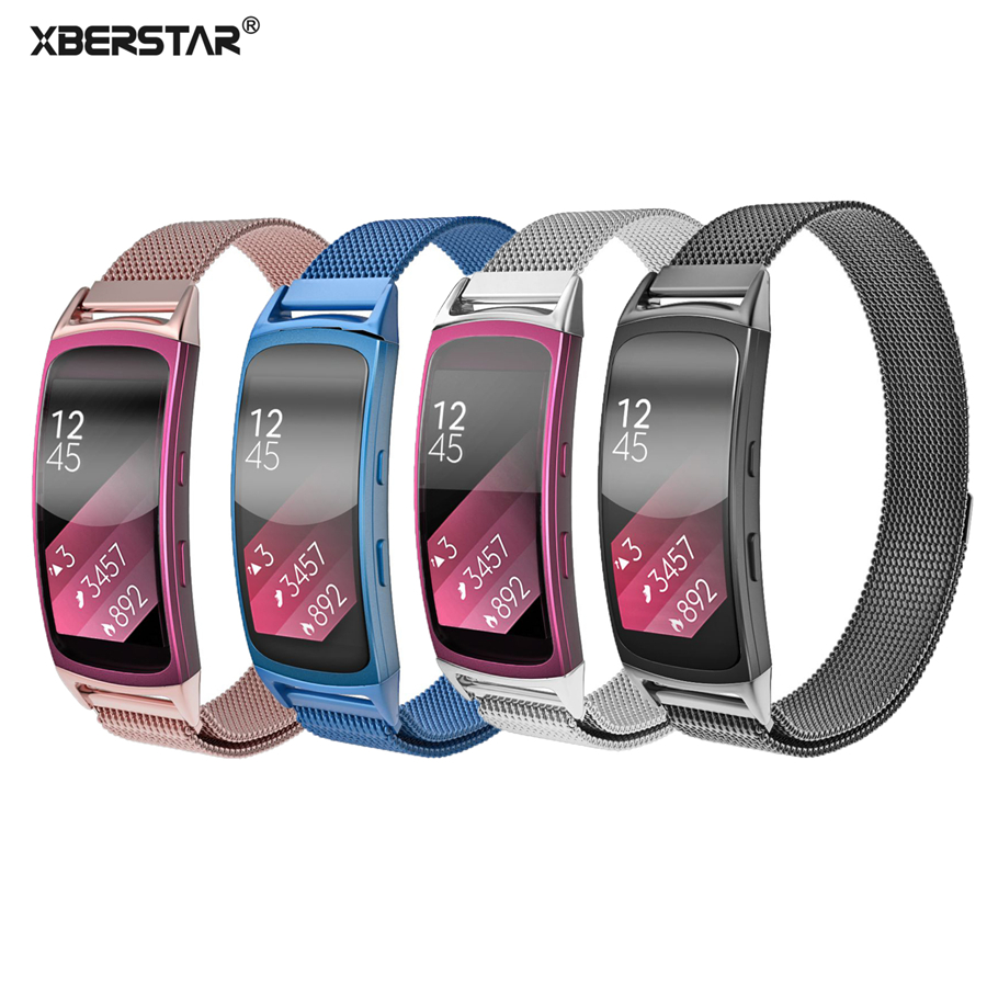 Stainless Steel Milanese Watch Strap Wrist band for Samsung Galaxy Gear fit 2 fit2 SM-R360 GPS Magnetic Loop Bracelet Watchband 7 colors silicone replacement smart bracelet wrist strap for samsung gear fit2 sm r360 sm r350 gear fit2 pro
