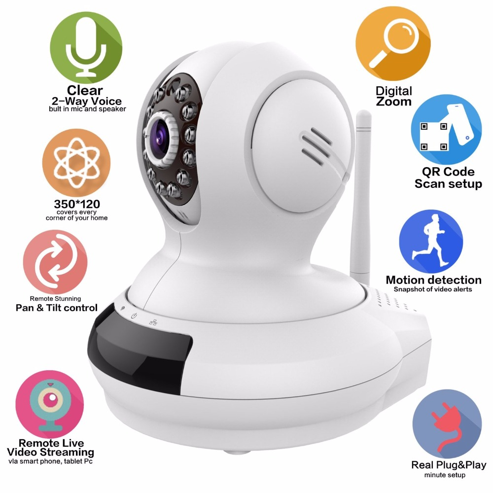 HD 720P Wireless Wifi IP Security Camera Baby Monitor Pan/Tilt Night Vision Two-Way Audio with Remote Surveillance Video Monitor wanscam hw0021 hd 720p wireless wifi ip camera baby monitor ir night vision built in mic pan tilt for android