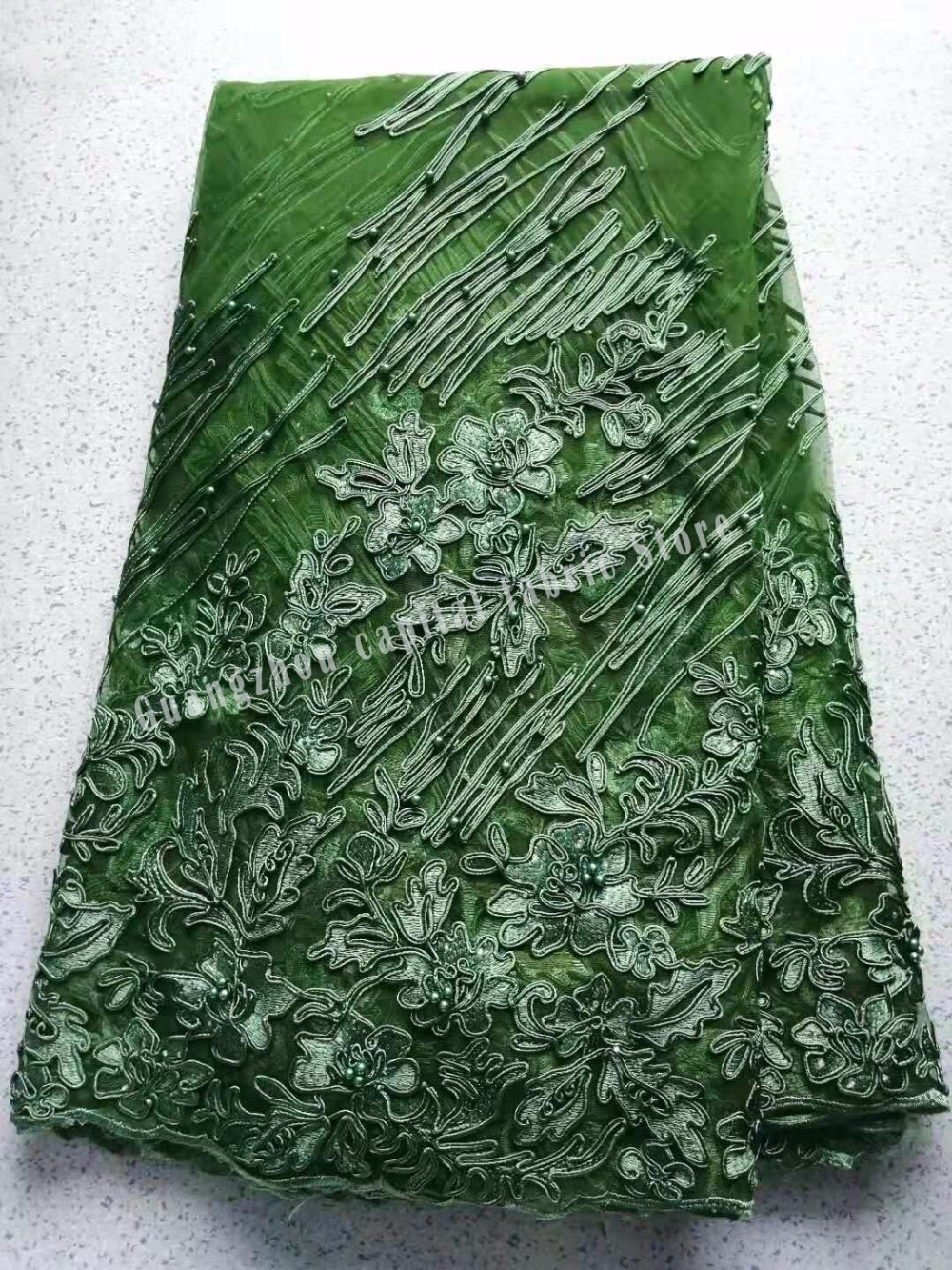 Africas new green elegant high quality rope embroidery edge and beads fabric, fashionable and beautiful party dressAfricas new green elegant high quality rope embroidery edge and beads fabric, fashionable and beautiful party dress