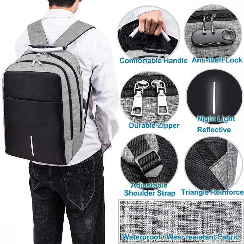 Sac à dos pour ordinateur portable hommes sac Anti-vol sac à dos de voyage sac à dos homme USB chargeur Port écouteur Port école sacs à dos pour ordinateur portable serrure - 3