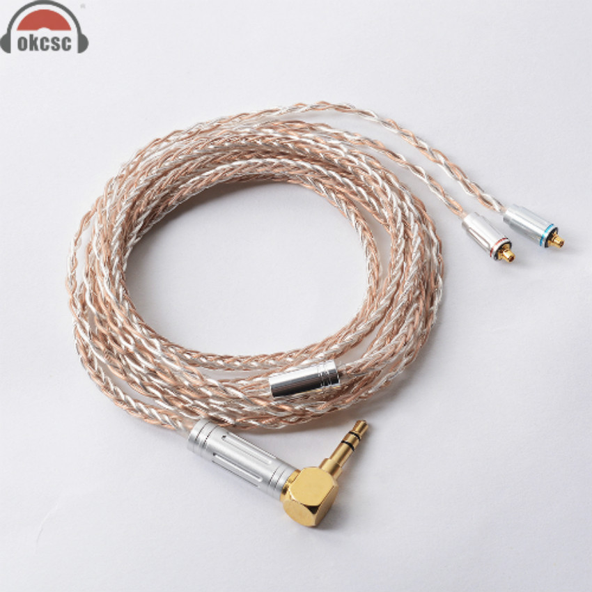 OKCSC 8 Core MMCX Cable 7N Single Crystal Plated Silver & Copper Upgrade Cord Line for Shure SE846, SE535, SE315, SE215, UE900 sncn led daytime running light for ford f 150 svt raptor 2010 2014 car accessories waterproof abs 12v drl fog lamp decoration