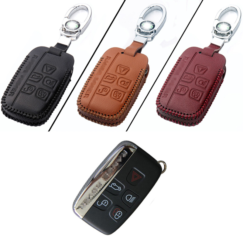 Ipoboo New High Quality Genuine PU Leather 5 Button Remote Key Bag Case Fob Holder Chain For Land Rover Series