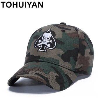 59282e3b6bf97 TOHUIYAN pirata cráneo bordado gorra de béisbol de algodón gorra papá sombrero  hombres mujeres Strapback capsula Hip Hop Snapback sombreros