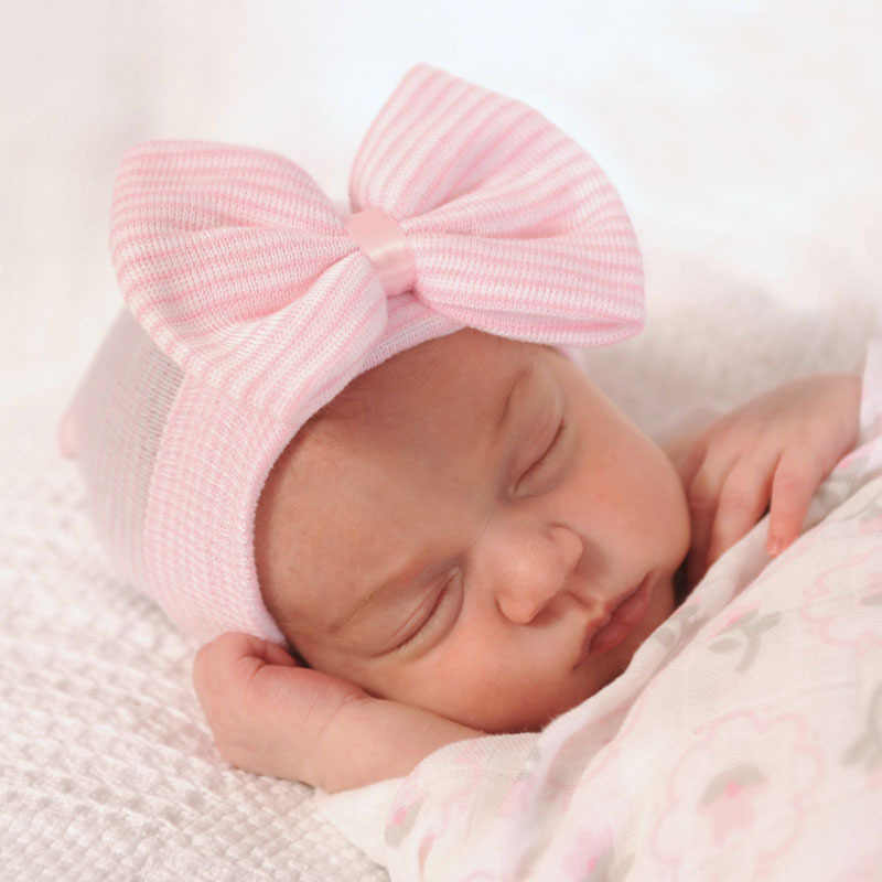 DreamShining Newborn Baby Hat Lovely Unisex Girl Boy Cap Cotton Beanie Bow  Infant Knitted Caps Striped d38ff4e93cbf