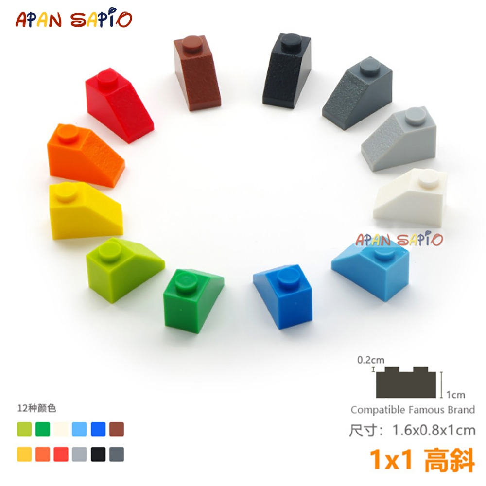 30pcs/lot DIY Blocks Building Bricks Bevel 1X1 Educational Assemblage Construction Toys For Children Size Compatible With Lego