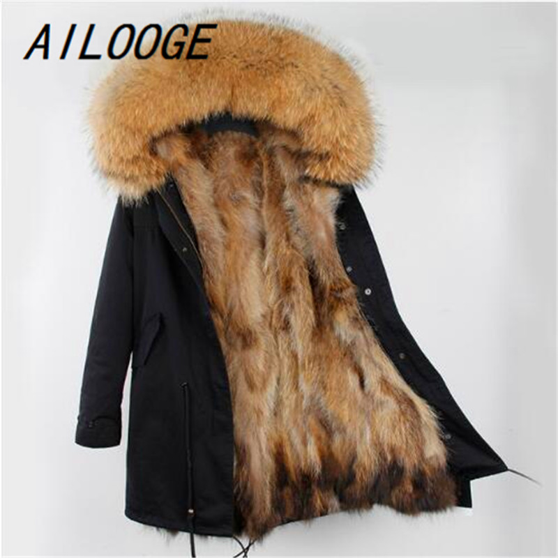 AILOOGE Fashion Women Luxurious Large Raccoon Fur Collar Hooded Coat Warm Fox fur Liner Parkas Long Winter Jacket Top Quality 2017 winter new clothes to overcome the coat of women in the long reed rabbit hair fur fur coat fox raccoon fur collar