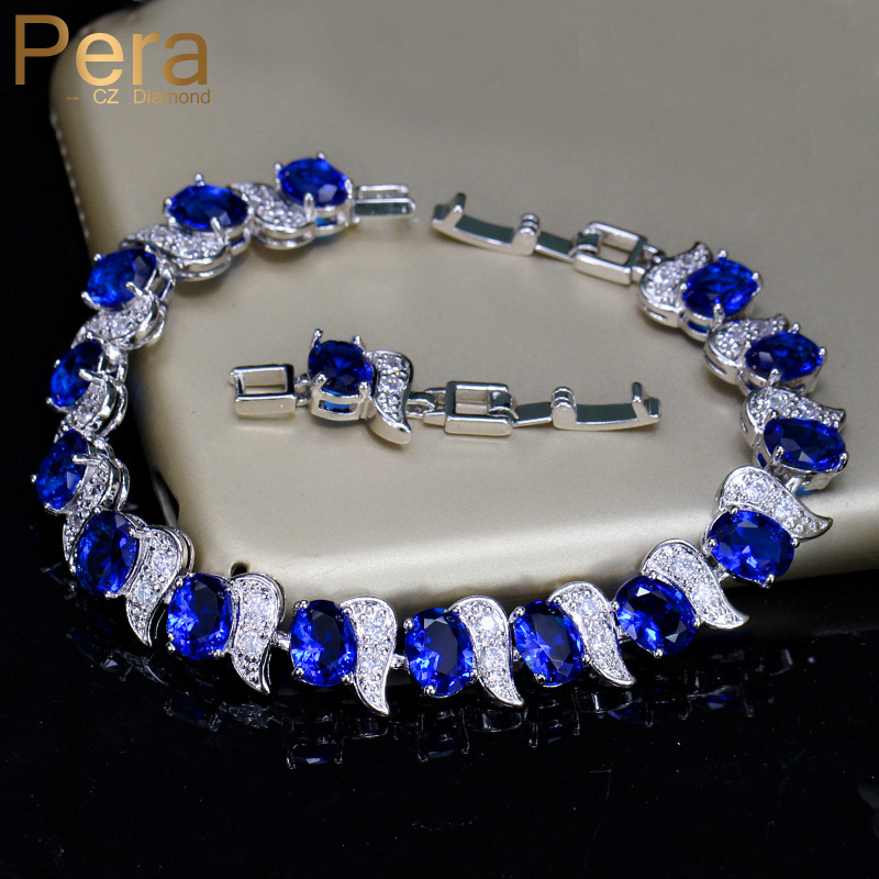 Pera European Design Natural Blue Cubic Zircon Crystal White Stone 925 Sterling Silver Jewelry Big Bedelarmband Voor dames B079