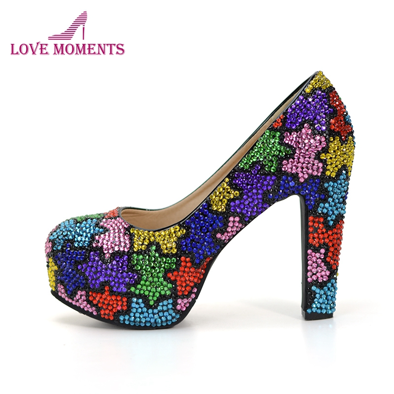 2018 Gorgeous Designer Multicolor Rhinestone Evening Party High Heels Thick Heel Wedding Dress Shoes Customized Matching Purse2018 Gorgeous Designer Multicolor Rhinestone Evening Party High Heels Thick Heel Wedding Dress Shoes Customized Matching Purse