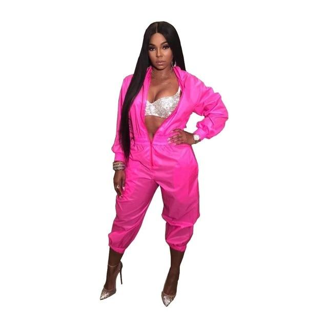 21e1c9f093d2 Hot Pink Color Women Hoodie One Piece Jumpsuits Front Zip Women Casual  Fashion Bodysuits