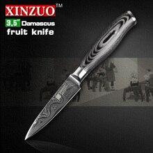 Xinzuo 3,5 zoll schälmesser 73 schichten japan damaskus küchenmesser sharp peeling obstmesser farbe holzgriff kostenloser versand